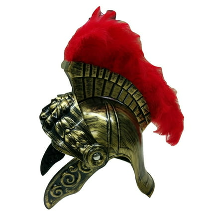 - Gold Roman Helmet Spartan Helmet Greek With Red Feathers Armor Gladiator Costume