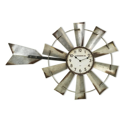 Operating Windmill (Gerson 33.4-Inch Long Battery-Operated Metal Windmill Clock with)