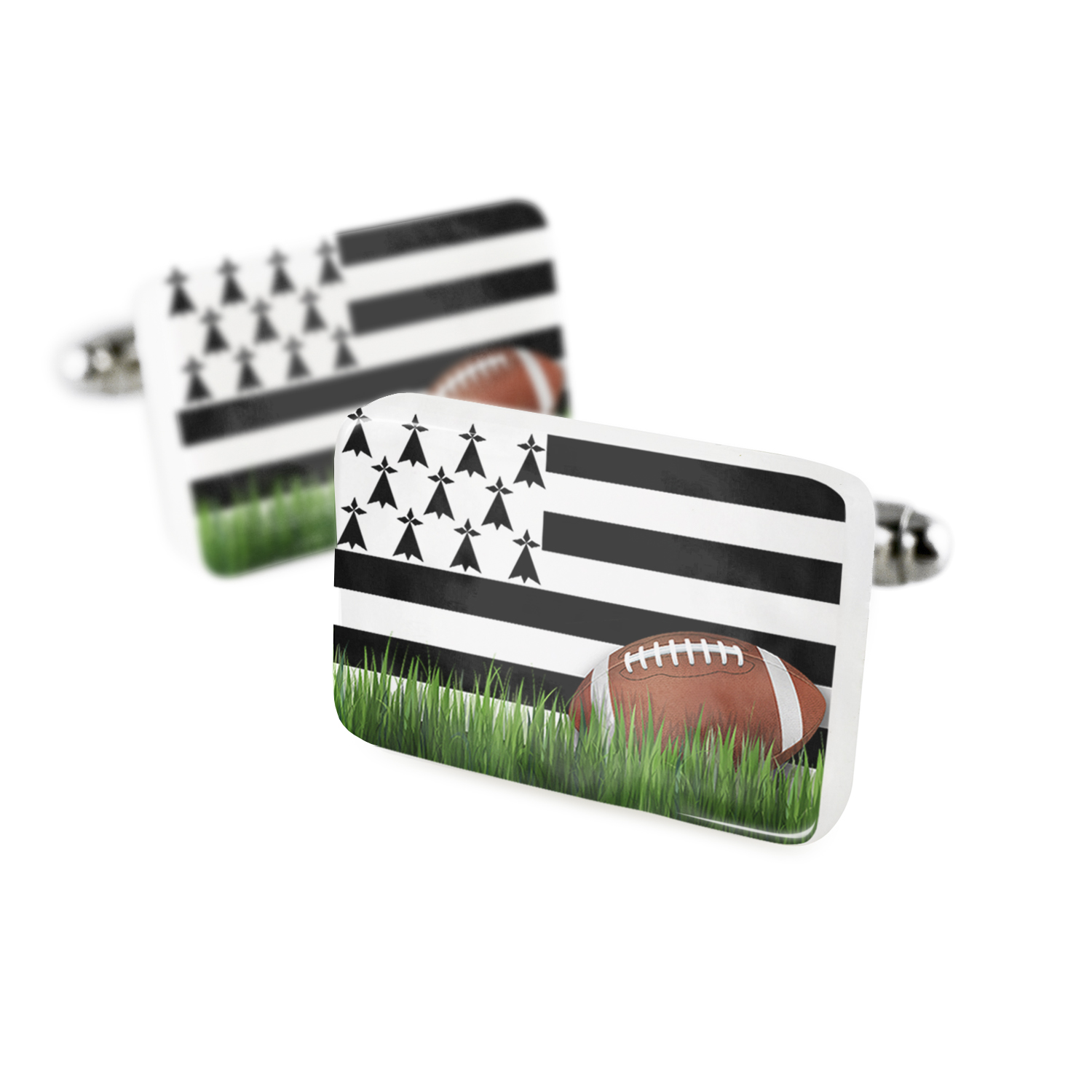Cufflinks Football with Flag Brittany region France Porcelain Ceramic NEONBLOND