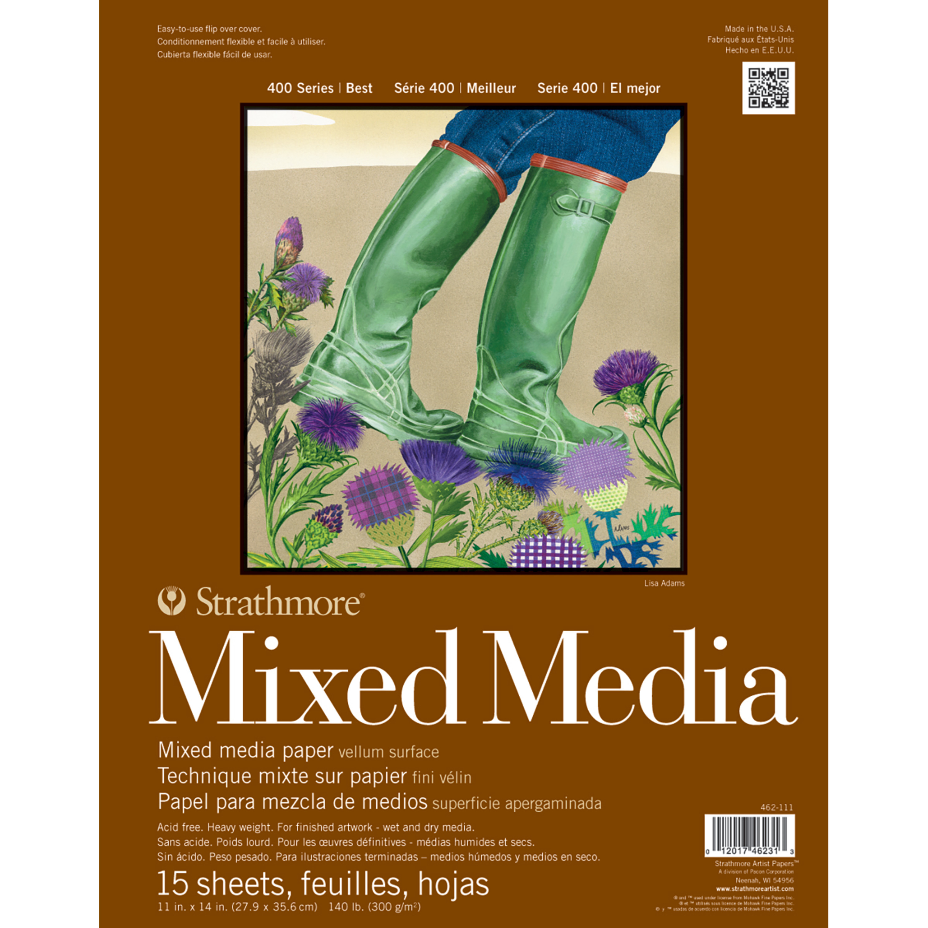 Strathmore Mixed Media Paper Pad, 400 Series, 11in x 14inin, 15 Sheets