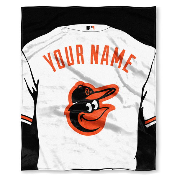 """MLB Baltimore Orioles """"Jersey"""" Personalized Silk Touch Throw Blanket"""