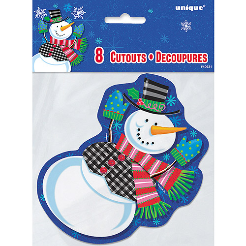 Mini Jolly Snowman Holiday Cut Out Decorations, 8-Count