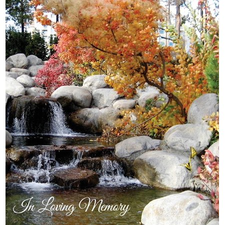 Funeral Guest Book in Loving Memory, Memorial Guest Book, Condolence Book, Remembrance Book for Funerals or Wake, Memorial Service Guest Book : A Celebration of Life and a Lasting Keepsake for the Family. Hard Cover with a Gloss Finish with Waterfall Garden Scene (A Memory Of Water)