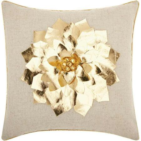 Nourison Home For The Holiday Metallic Poinsettia Decorative Throw Pillow, 16