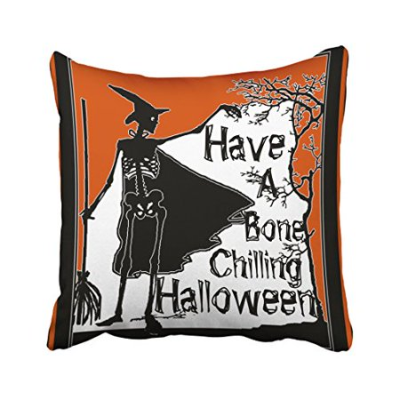 WinHome Decorative Pillowcases Have A Bone Chilling Halloween Throw Pillow Covers Cases Cushion Cover Case Sofa 18x18 Inches Two Side](Halloween Bones Sayings)