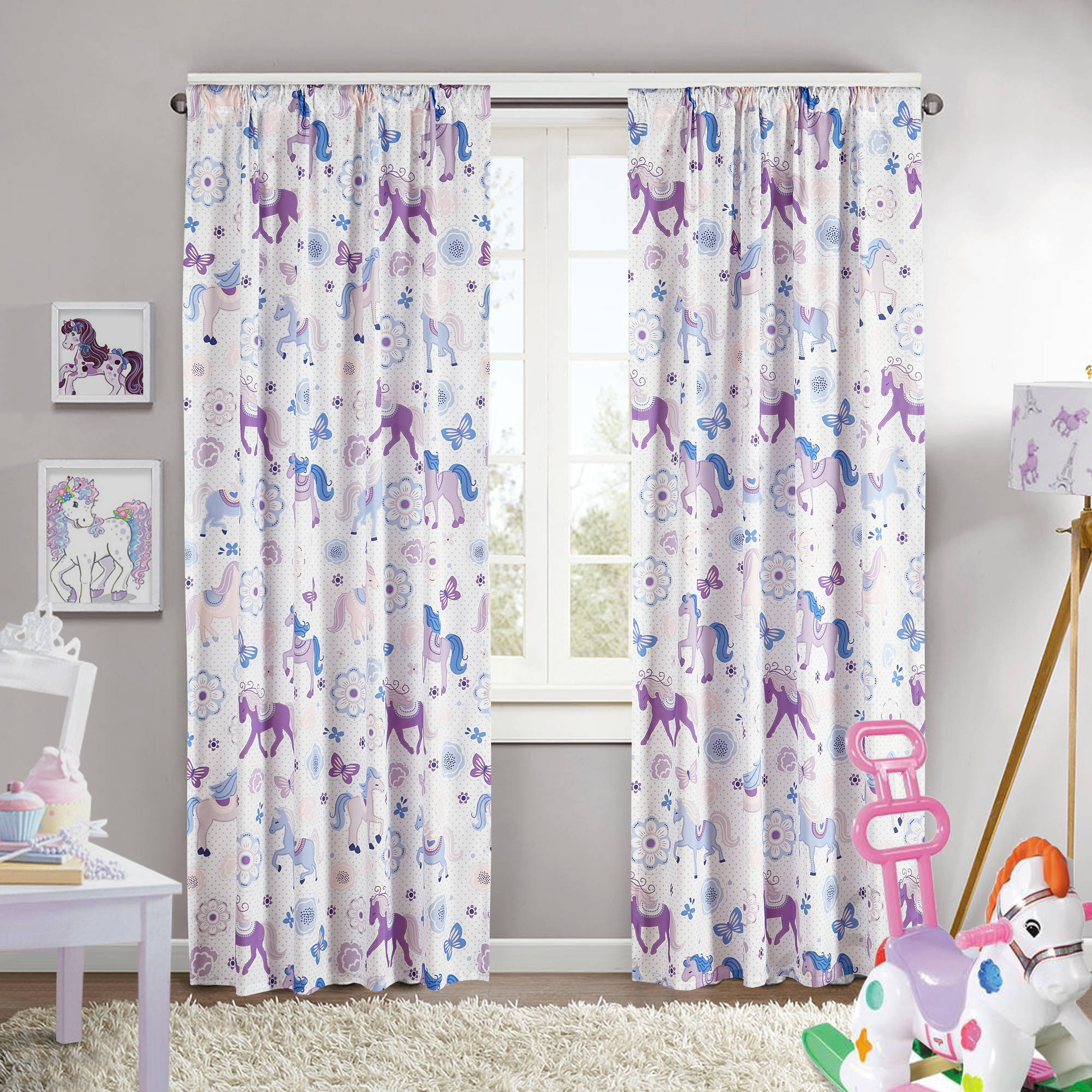 Mainstays Pretty Horses Girls Bedroom Curtain Panel