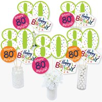 80th Birthday - Cheerful Happy Birthday - Colorful Eightieth Birthday Party Centerpiece Sticks - Table Toppers - Set of 15