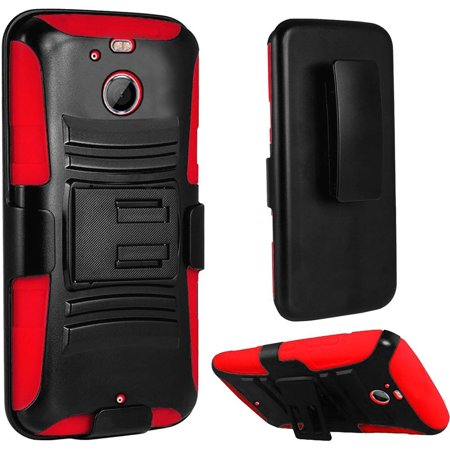 Side Stand Bolt (For HTC Bolt Hybrid Side Kickstand With Holster Clip Case - Black+Red)