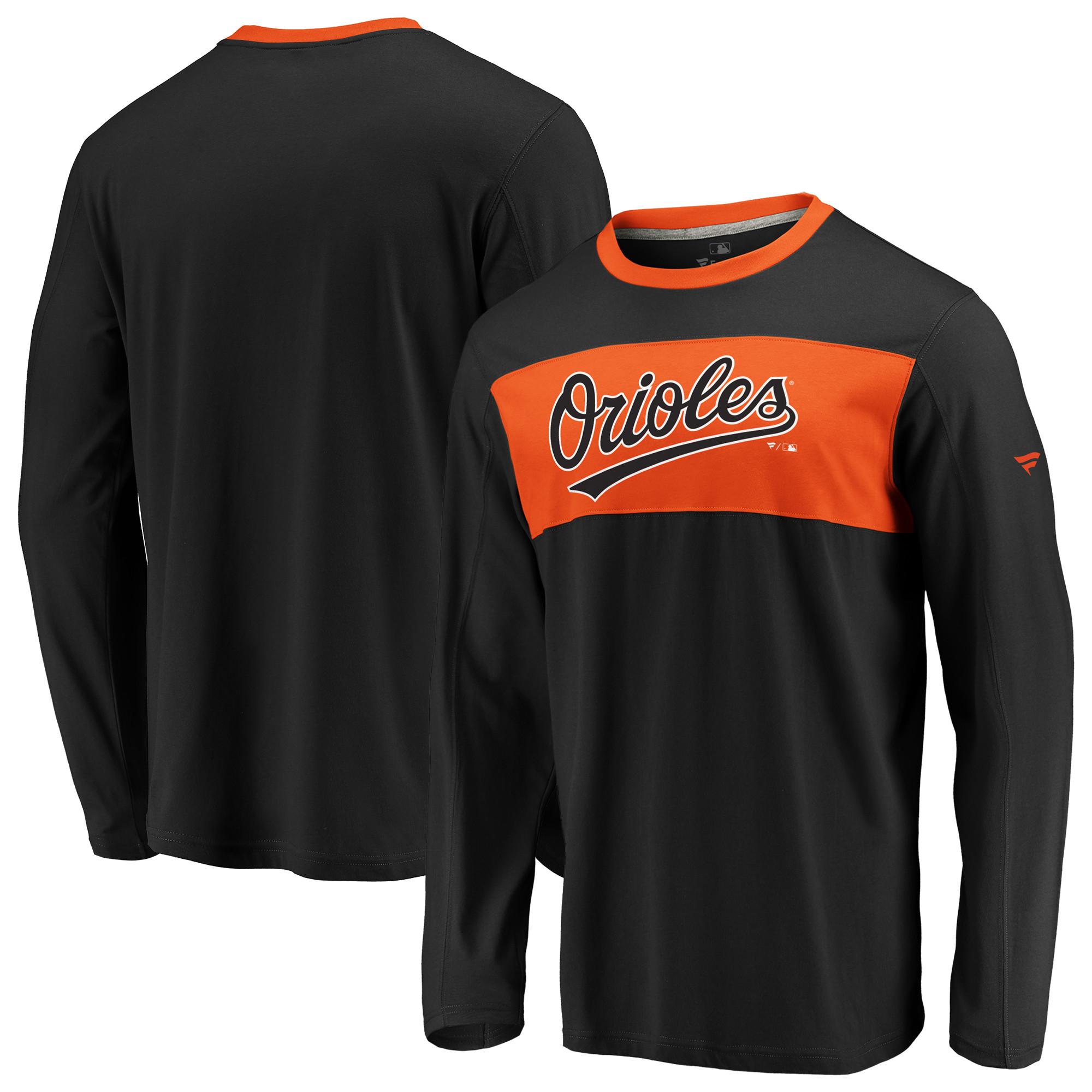 Baltimore Orioles Fanatics Branded Iconic Long Sleeve T-Shirt - Black/Orange