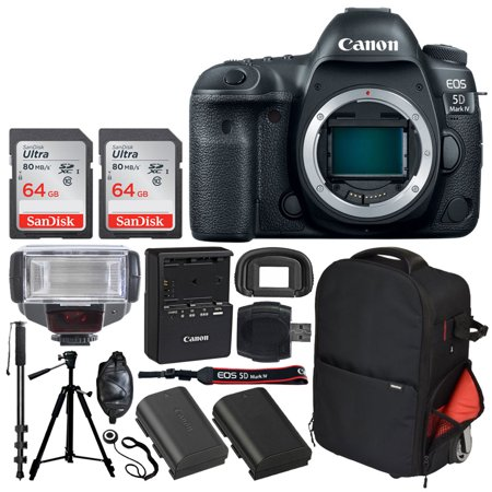 Canon EOS 5D Mark IV DSLR Camera (Body Only) + SanDisk 64GB Ultra UHS-I SDXC Memory Card (Class 10) + Vivitar Series 1 Trolley Backpack Case + TTL Digital Flash + Quality Tripod – Professionals Bundle