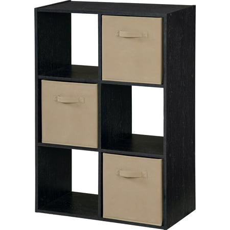 Storage Cubby Bookshelf With 3 Fabric Bins