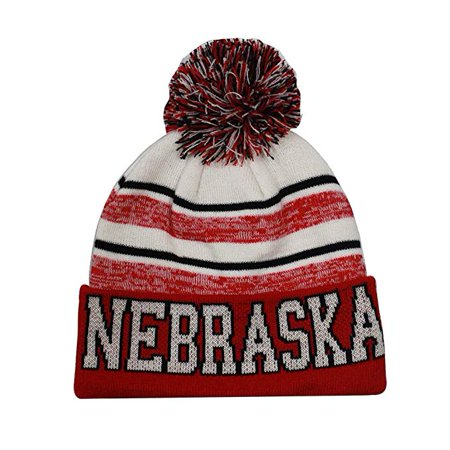 Semper Fi - Nebraska Men s Blended Stripe Winter Knit Pom Beanie Hat (Red  White) - Walmart.com 008cae5216a