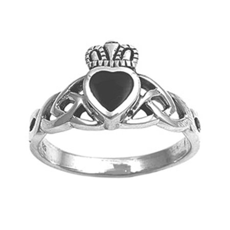 Sterling Silver Celtic Claddagh Band (CHOOSE YOUR COLOR Simulated Black Onyx Claddagh Heart Celtic Knot Ring .925 Sterling Silver Band (Black Simulated Onyx/Ring Size 8))