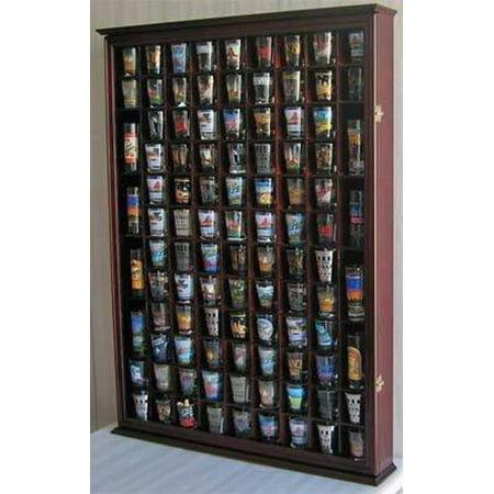 100 Shot Gl Display Case Holder Shadow Box Wall Cabinet With Acrylic Door Black Finish