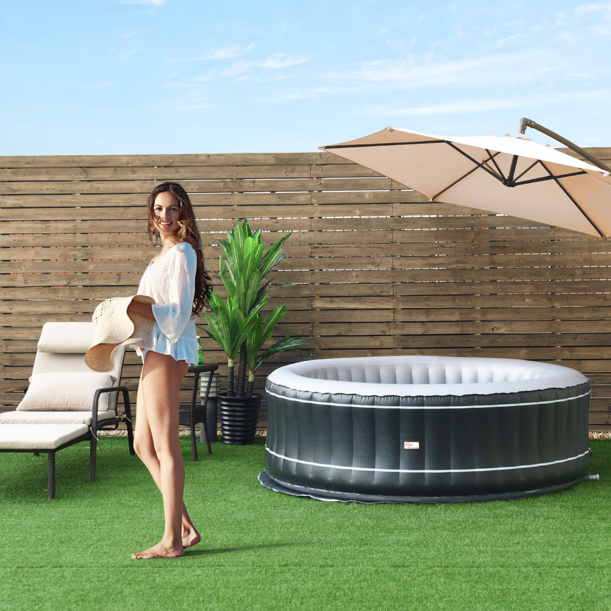 4-Person Inflatable Hot Tub Portable Outdoor Bubble Jet Leisure Massage Spa Gray - image 6 of 8