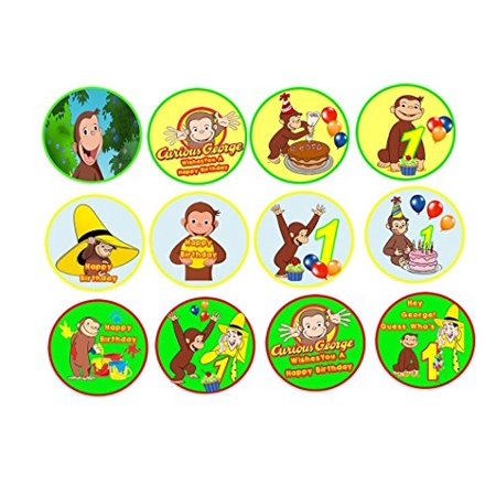 12 Curious George Edible Frosting Image Sheets Cupcake and Cookie Toppers (Curious George Cupcake Toppers)