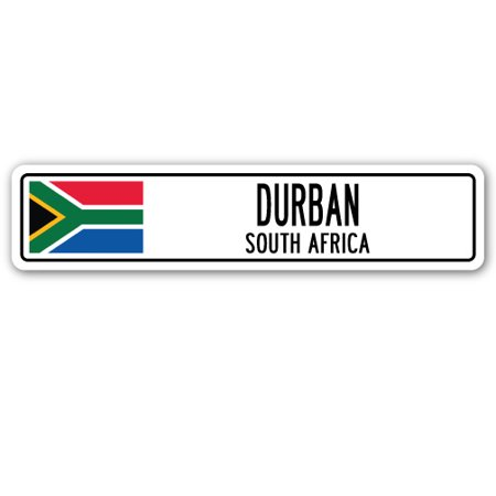 DURBAN, SOUTH AFRICA Street Sign South African flag city country road wall