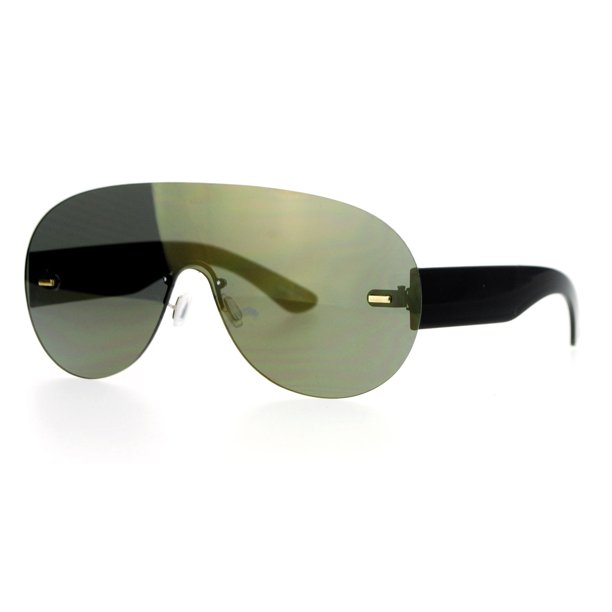 SA106 Futuristic Rimless Robotic Aviator Mirrored Mirror Lens Racer Sunglasses Gold Mirror
