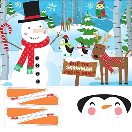 Festive Christmas Pin-the-Nose on the Snowman Game Party Activity,24