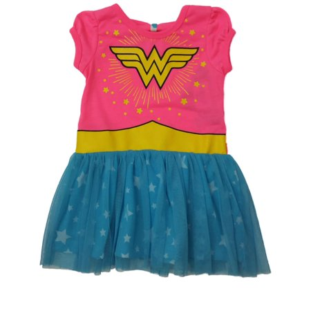 Toddler Girls Hot Pink & Aqua Blue Wonder Woman Super Hero Tutu Dress Outfit (Super Hero Outfit)