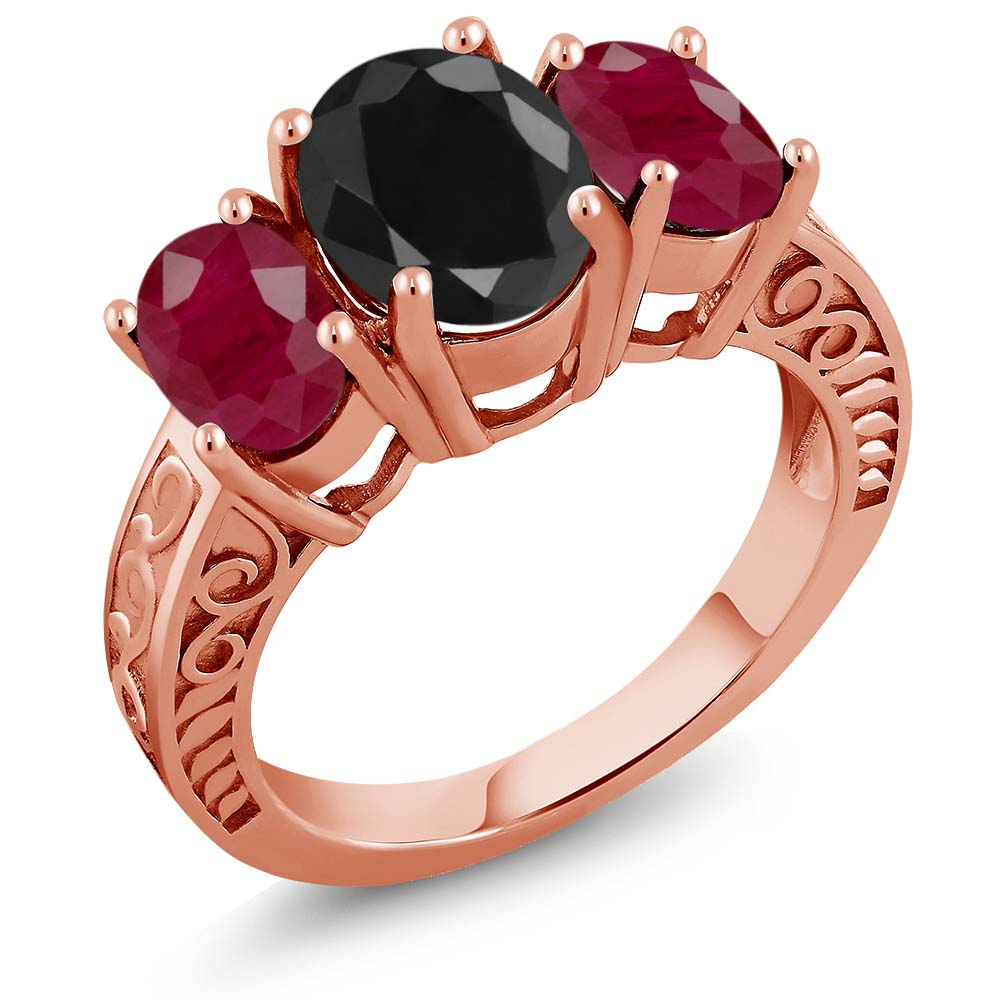4.58 Ct Oval Black Sapphire Red Ruby 18K Rose Gold Plated Silver Ring by