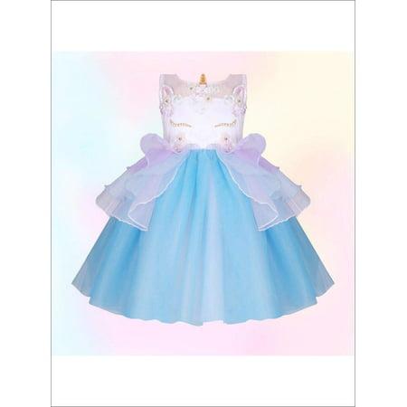 Girls Unicorn Party Tutu Dress (4 Color Options), Blue, Size: 2T