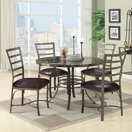 Acme Furniture Daisy 5 Piece Round Faux Marble Dining Table Set