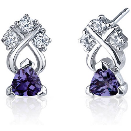Oravo 1.00 Carat T.G.W. Trillion-Cut Alexandrite Rhodium over Sterling Silver Drop Earrings