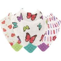 Nuby 100% Natural Cotton Muslin Teething Bib - 3 Pack, Flower/Butterfly/Stripes