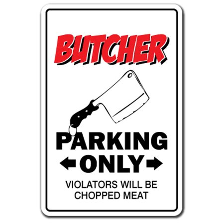 Butcher novelty sticker | Indoor/Outdoor | Funny Home Décor for Garages, Living Rooms, Bedroom, Offices | SignMission Shop Knives Gift Funny Meat Cutter Market Decal Wall Plaque -