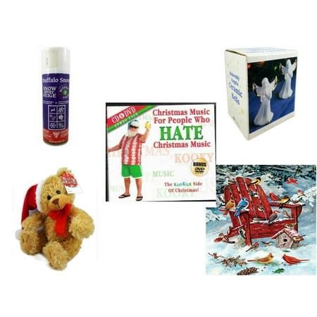 Christmas Fun Gift Bundle [5 Piece] - Buffalo Snow Spray Snow 9 oz. - Heavenly Angels Ceramic Bells 4