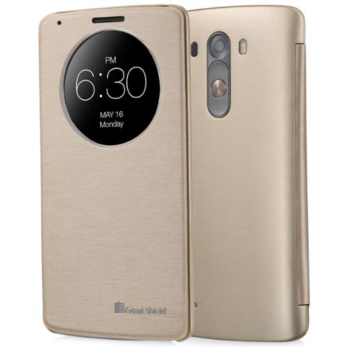 LG G3 Quick Circle Case - GreatShield [SHIFT LX] Slim Leather Flip View Cover with Sleep/Wake Function for LG G3 (Gold)