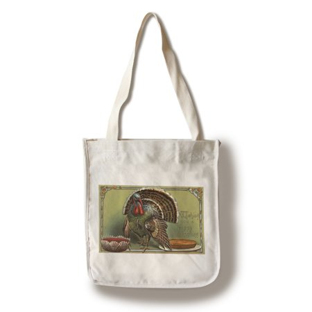 Vintage Thanksgiving Decorations (Wishing You a Happy Thanksgiving - Turkey by Punch and Pie - Vintage Holiday Art (100% Cotton Tote Bag -)