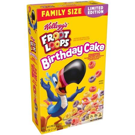 Tiny Loops (Kellogg's Froot Loops Birthday Cake Breakfast Cereal 19.4 Oz )