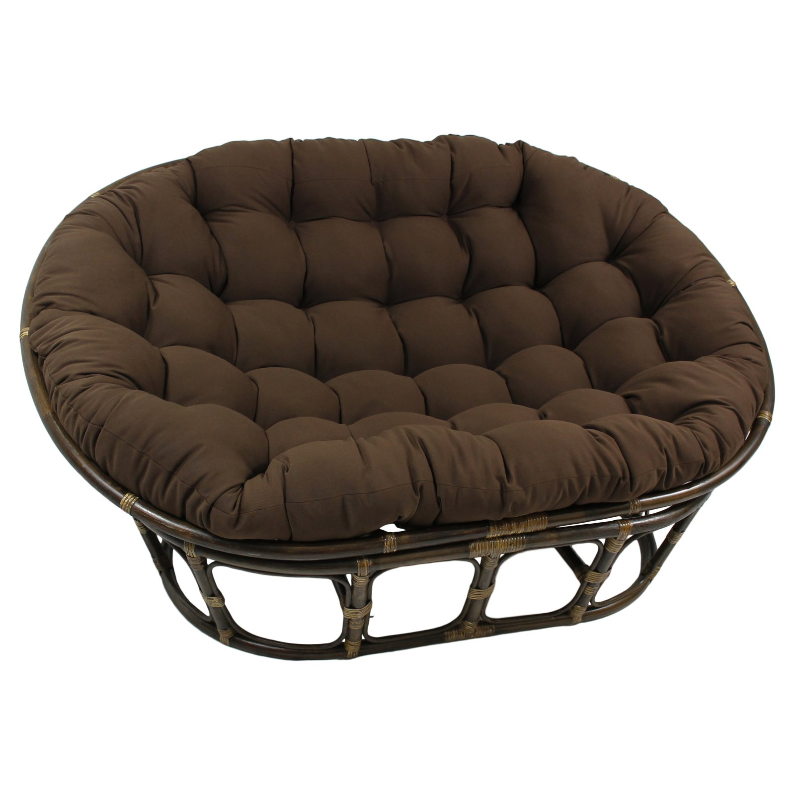 International Caravan Double Papasan Chair with Solid Cushion