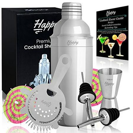 Premium Martini Shaker Set   24 Oz Stainless Steel Cocktail Mixer  Jigger  Strai