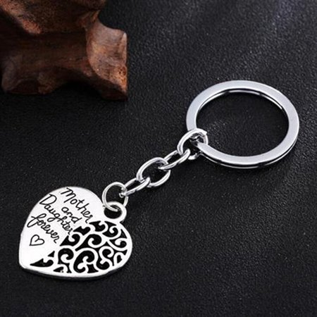 Mom Keychain - Girl12Queen Mother and Daughter Forever Hollow Heart Key Ring Mother's Day Gift Keychain
