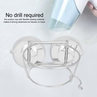 FAGINEY Wall Mount Hair Dryer Holder,Hair Dryer Stand,Stainless Steel Home Bathroom Suction Cup Wall Mounted Hair Dryer Holder Stand Hanging Rack