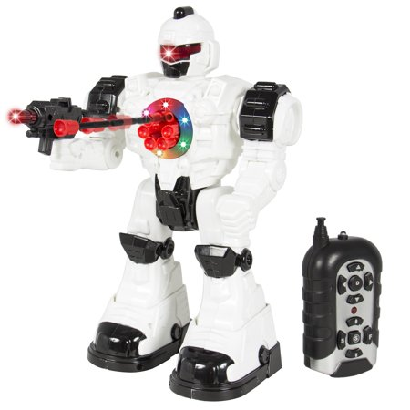 Best Choice Products RC Walking and Shooting Robot Toy w/ Lights and Sound Effects - White/Black - Toy Robots For Toddlers