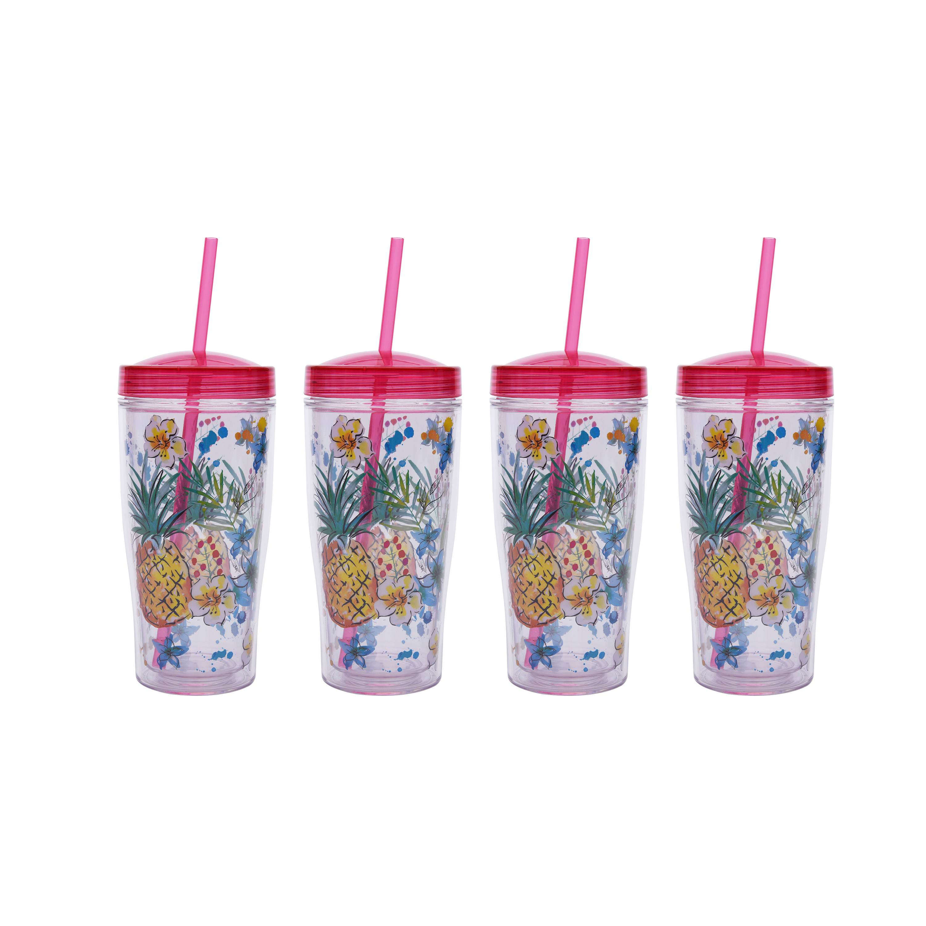 Mainstays Tropical Double Wall Tumbler, Set of 4