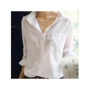 Women V Neck Long Sleeve White Shirt Blouse Casual Cotton Linen Top