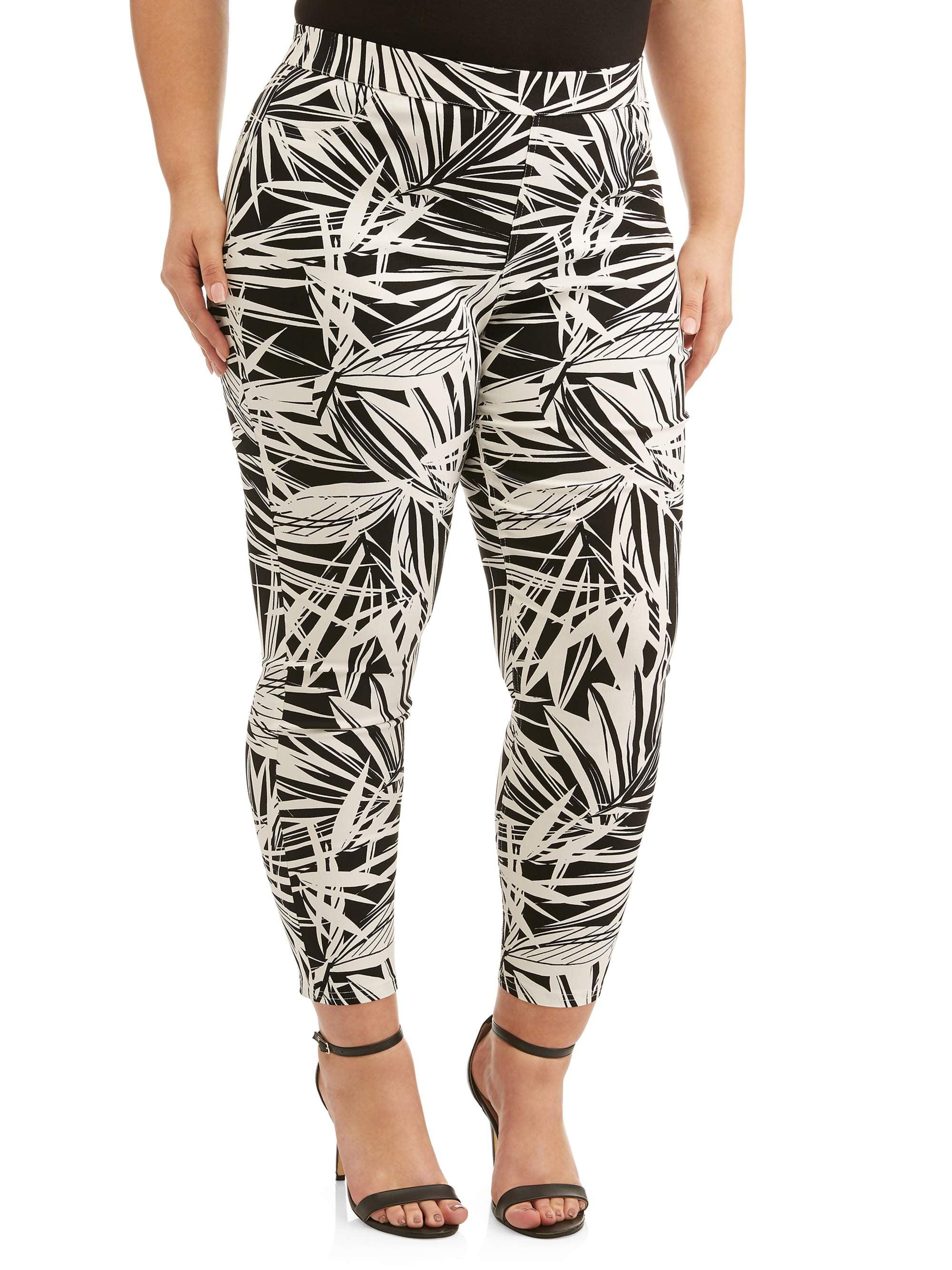 Women's Plus Size Black White Palm Print Pant