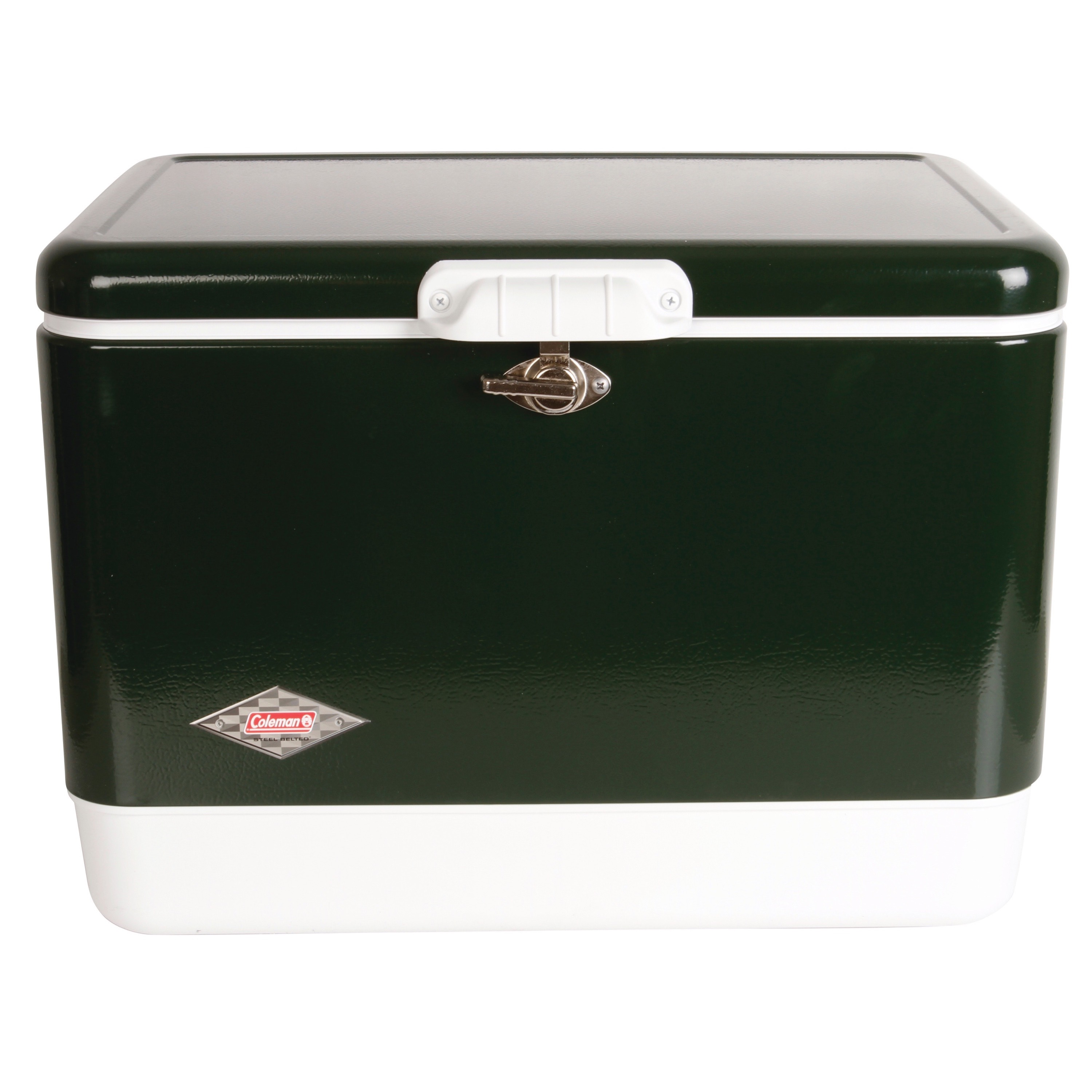 Coleman Steel Belted Portable 54 Quart Retro Classic Cooler Box Red Black Green