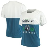 Minnesota Timberwolves FISLL Women's Interlock Mesh Combo Short Sleeve T-Shirt - White/Blue