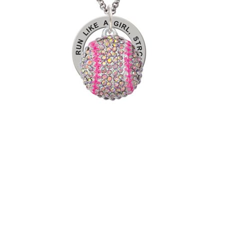 Silvertone Large Super Sparkle Crystal Pink AB Softball Run Like A Girl Affirmation Ring - Sites Like Sparkle In Pink