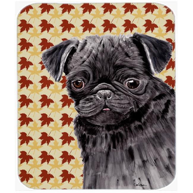 Pug Black Fall Leaves Portrait Mouse Pad, Hot Pad Or Trivet