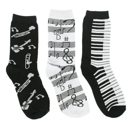 Women's Black White Music Notes, Piano Keys, Instruments Crew Socks,