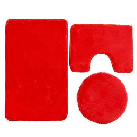 3Pcs /set Non-slip Toilet Lid Cover + Floor Pedestal Rug + Pad Mat Carpet Bathroom Home Decor Gift - image 4 de 6