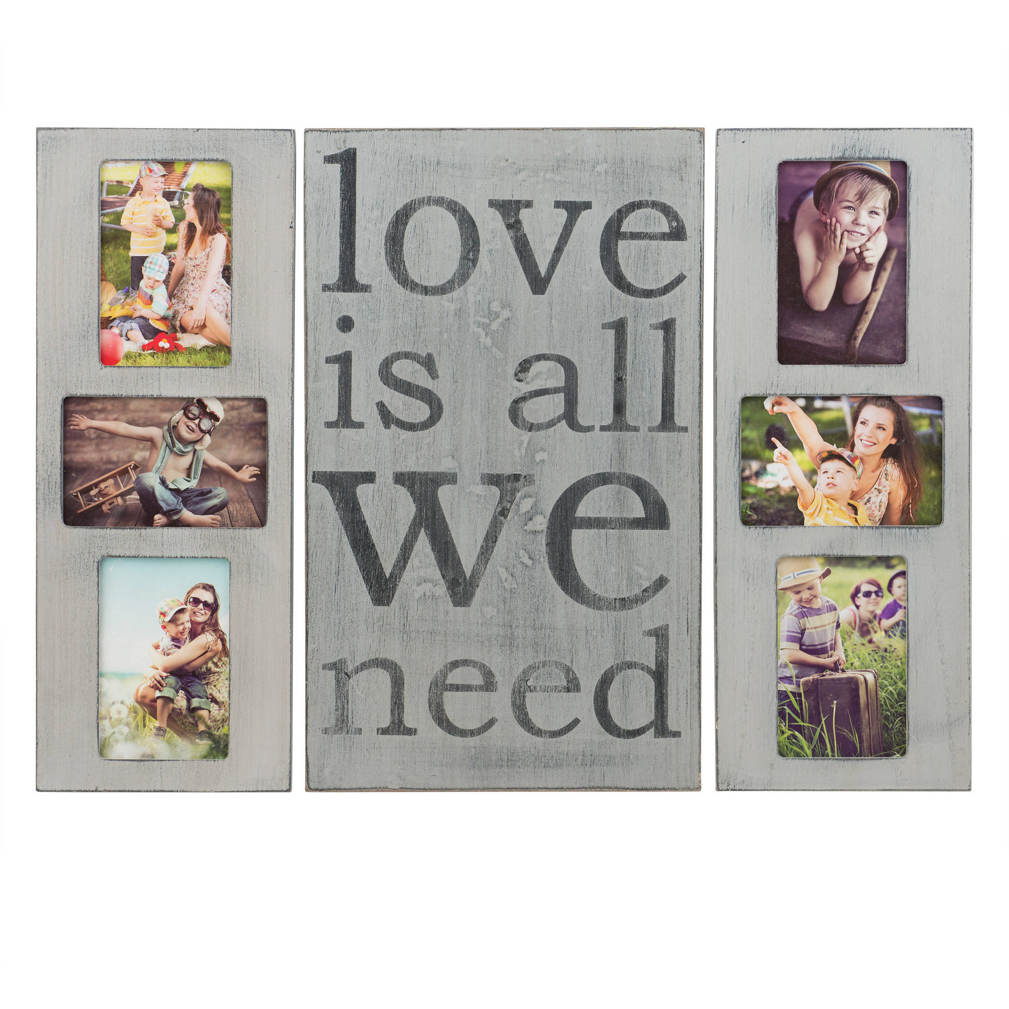 Melannco Gray Sentiment Collage Plaque, Set of 3