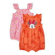 Disney Minnie Mouse Baby & Toddler Girls Rompers, 2-Pack, Sizes 0-24M